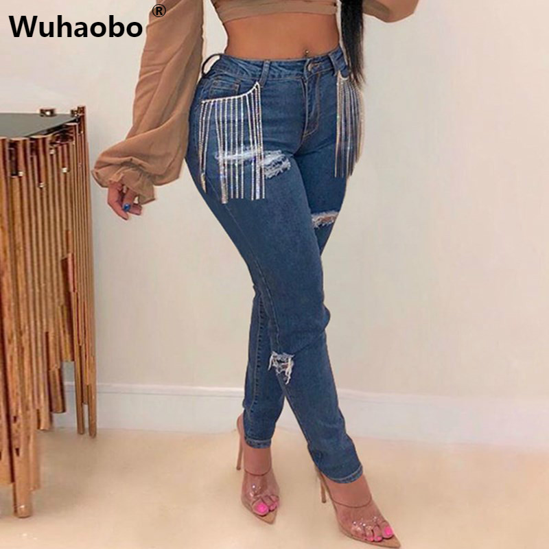 Wuhaobo Autumn Winter Multicolor Jeans 2XL Fashion Hole Ripped Jeans Women Tassel Denim Pants Casual High Waist Skinny Trousers