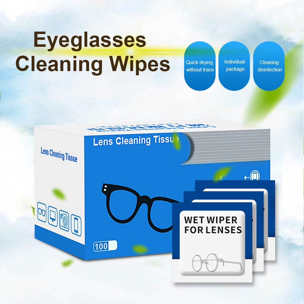 100PCS Lens Cleaning Wipes Moistened Cleansing Cloths For Eyeglasses Tablets Camera Lenses Screens Keyboards Delicate Surfaces