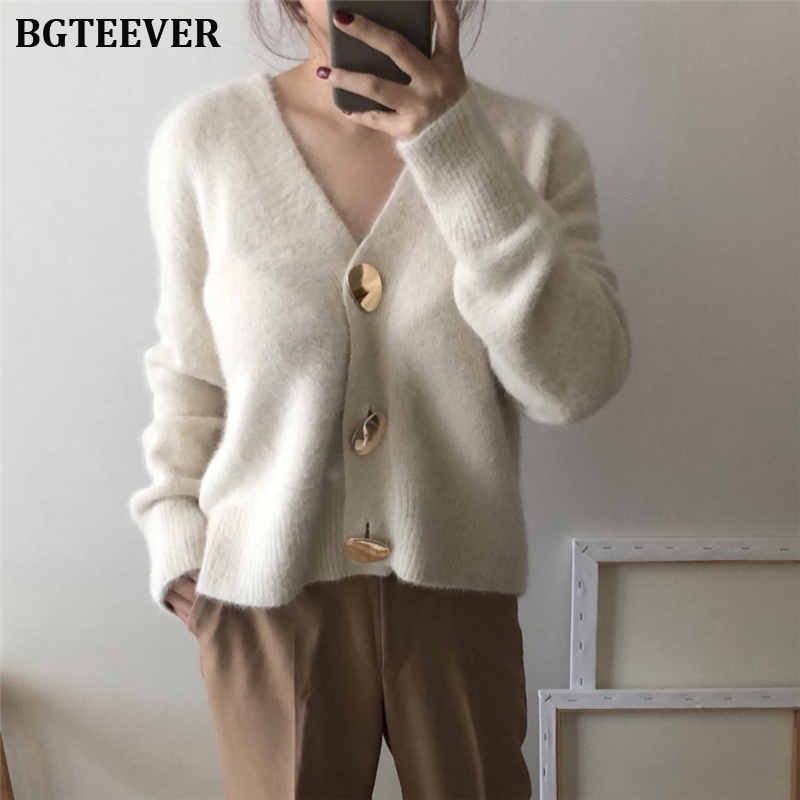 BGTEEVER Vintage Loose V-neck Women Sweaters Autumn Winter 2019 Single-breasted Cardigans Female Open Stitch Knitted Outerwear