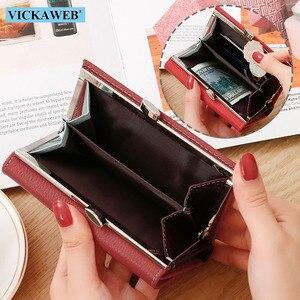 Image 4 - VICKAWEB cartera pequeña de piel auténtica para mujer, monedero colorido, monedero con cierre