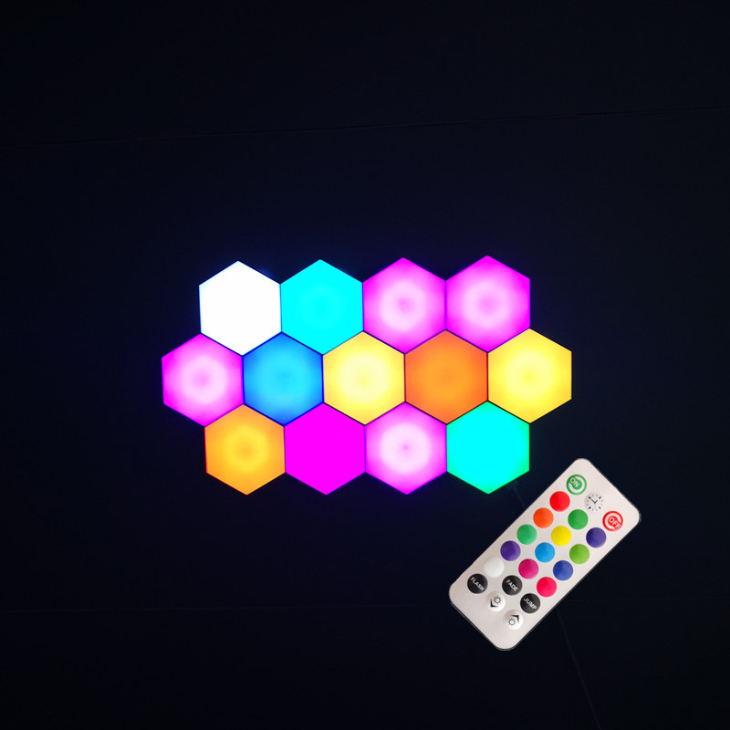 New Upgrade USB Quantum Lamp Splicing Hexagonal Home Wall Lamp Remote Control Touch Control Colorful Wall Honeycomb Lamp Gifts D