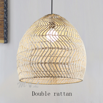 Creative Double Rattan Pendant Lights Chinese Style Home Deco Suspension Luminaire Living Room Hanging Lamps Bar Restaurant Lamp