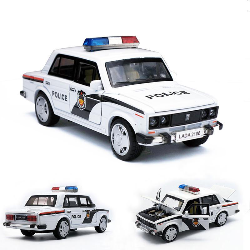 New Model Car Toy Proportion Lada Russian Police Car Die-cast Model Boy Toy Openable Door Pull Back Function Music Light Boy Toy