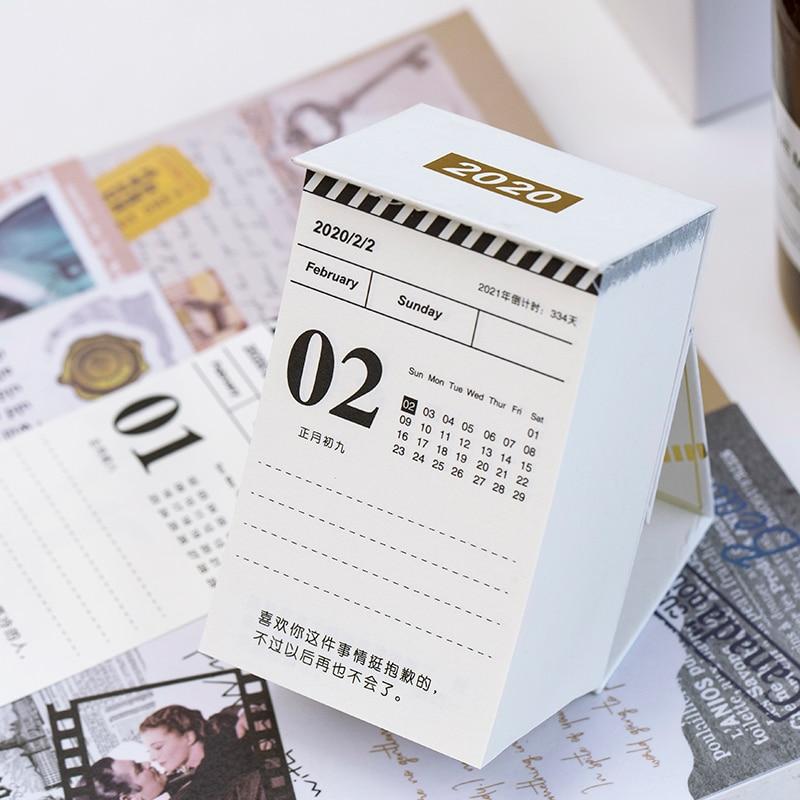 2020 Simple Mini Desktop Calendar 366 Days Portable Calendars Daily Schedule Planner Yearly Agenda Organizer