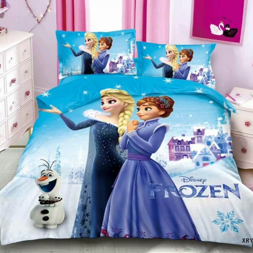 Disney Frozen Elsana Pattern Bedding Set 3D Snow White Girls Bedroom Decoration Down Quilt Cover Pillow Cover Home Texture