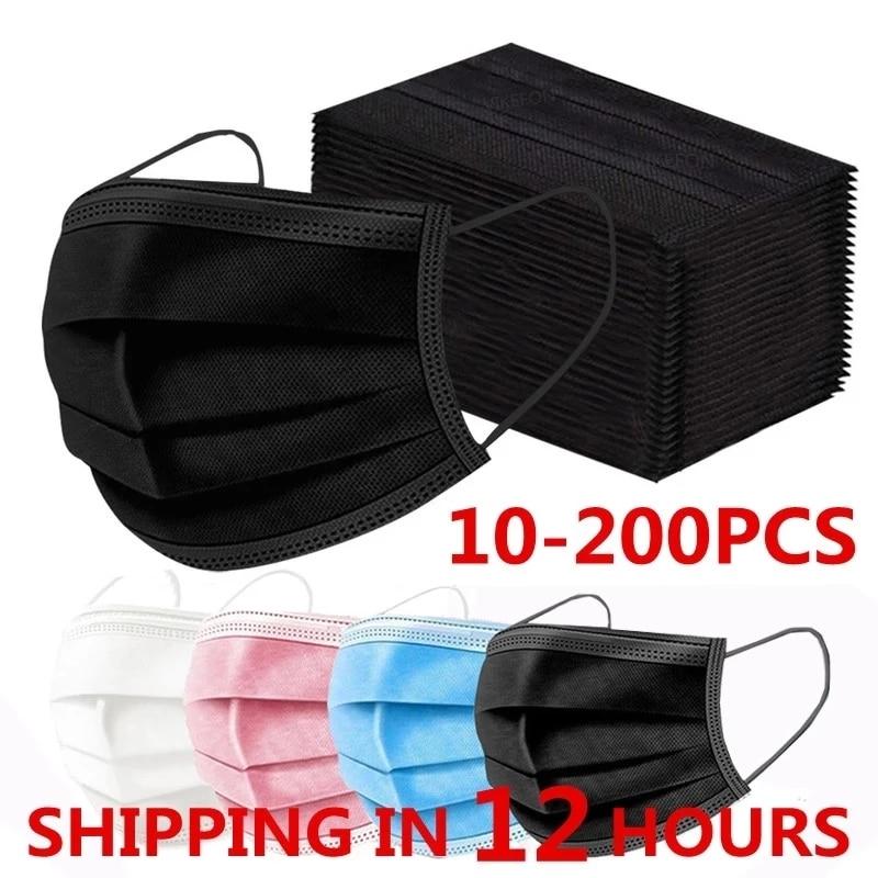 10-200 шт. одноразовые маски для лица Nonwove 3 Слои маска для полости рта фильтр против пыли дышащие защитные маски для взрослых Быстрая доставка