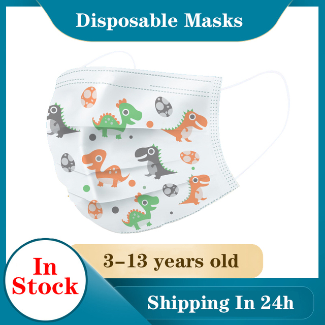 Cartoon avatar Children's masks 3 layer Disposable Elastic Mouth Soft Breathable Cute Hygiene Child Kids Face Mask Dropshipping