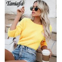 Taniafa Women Tops Mohair Blend Fuzzy Blouse Pullover Jumper Sweater Knitwear