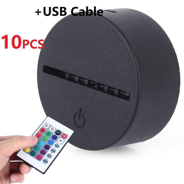10Pcs/Lot 3D LED Lamp Base Acrylic Night Light Base LED USB Touch Remote Control Lighting Accessories Base Wholesale