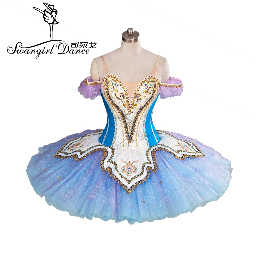 high quality blue Don Quxote professional ballet tutus with Golden decoration rehearsal tutu pancake tutu BT9101