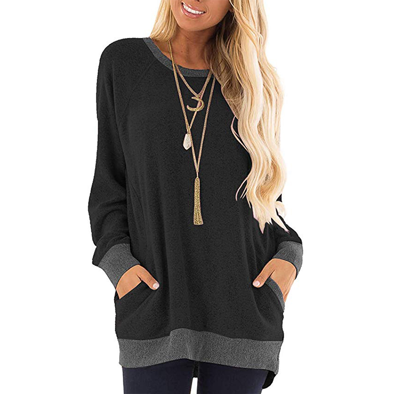 Spring Women Plus Size Tunic Tops Loose Tee Shirt With Pockets Casual O Neck Long Sleeve Blouse Fashion Woman Blouses 2020