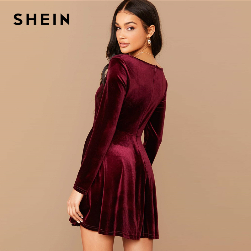 SHEIN Solid Square Neck Flared Elegant Velvet Dress Women Spring High Waist Long Sleeve Ladies Fit And Flare Party Short Dresses 2