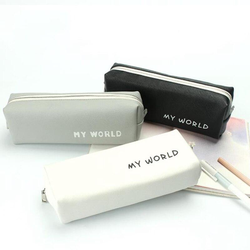 Black Leather Pencil Case School Pencil Case For Girls Boys Student Stationery Big Pencil Box Bag Kawaii School Supplies Tools