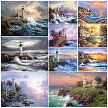 5d pintura diamante paisagem cheia quadrado diamante bordado seaside farol strass artesanato mosaico decoração para casa imagem
