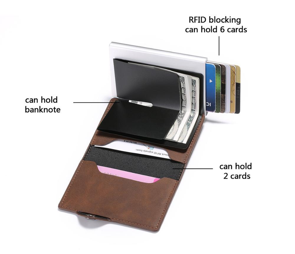 RFID Vintage Crazy Horse Leather Card Holder Card Case Money Bag  Card Holder Slim Wallet Mini Men Wallet Slim Women Coin Purse