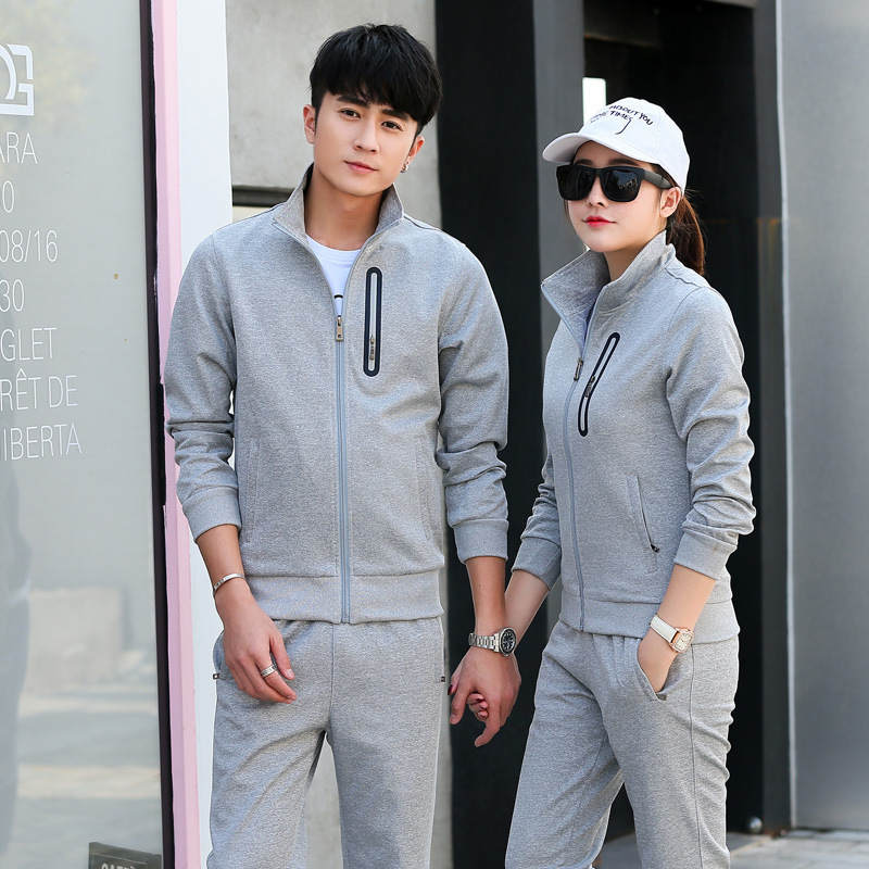 2018 Spring And Autumn New Products Couples Sports Set Korean-style Stand Collar Long Sleeve MEN'S Sport Suit Casual Women's Spo