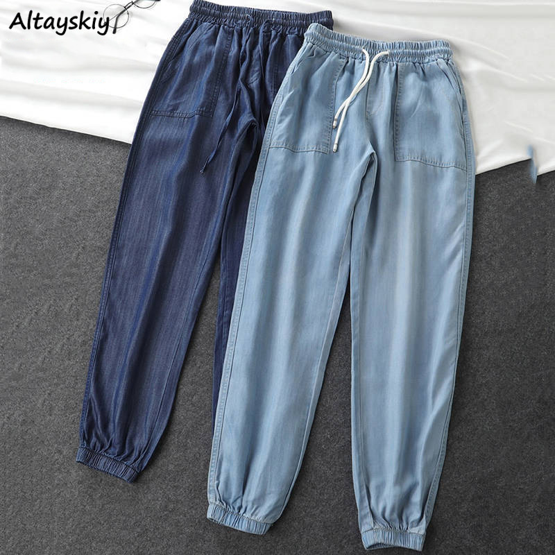 Jeans Women Plus Size Korean Style Novelty Denim Trousers Drawstring Breathable Womens All Match Streetwear Casual Pockets Soft