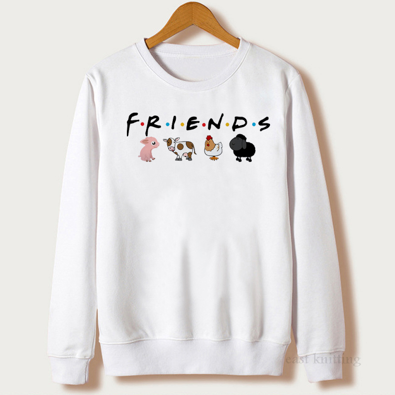 Vegan Sweatshirts Women 2019 Animals Friends Printing Female Long Sleeve Autumn Casual Pullover Harajuku O-Neck Winter Tops
