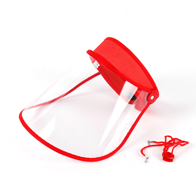 Safety Transparent Mask Full Face Shields Hat Saliva Virus Protective Clear Flip Up Visor Face Cover Protection Caps 2