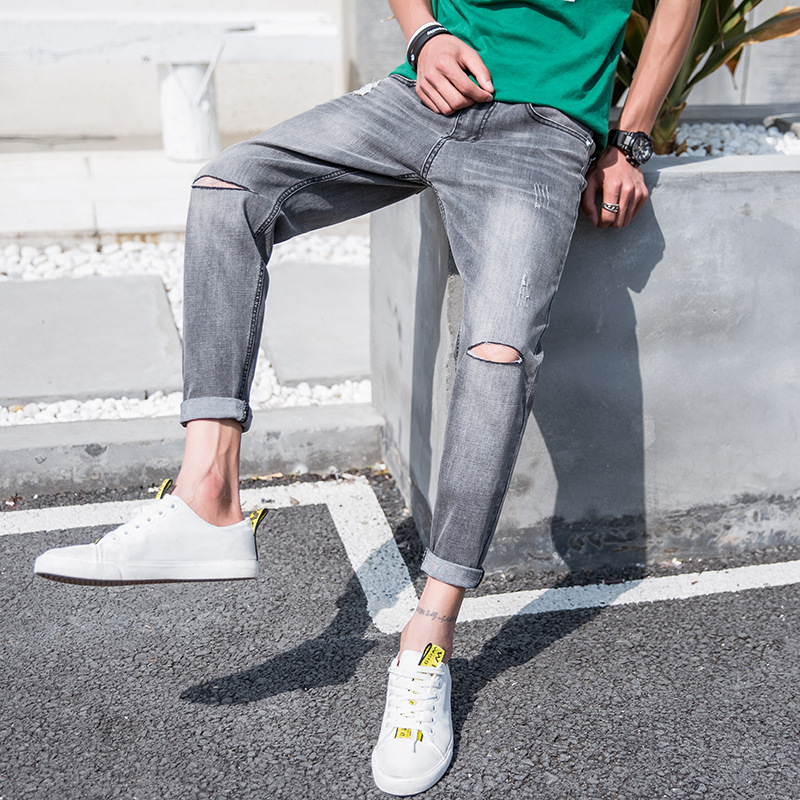 MEN'S Jeans Light Straight-leg Capri Pants With Holes Beggar Jeans Greyish Black Fashion Korean-style Casual MEN'S Trousers