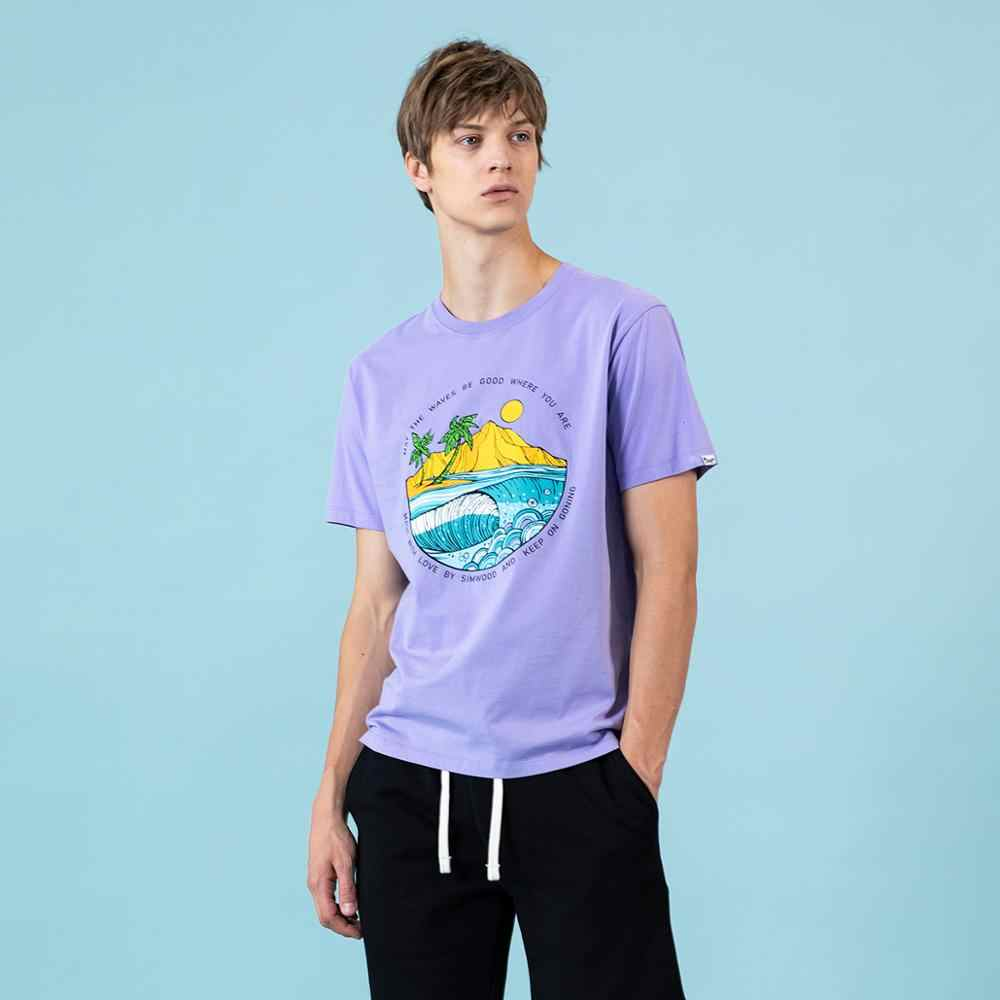 Simwood 2020 Zomer Nieuwe T-shirt Mannen Eiland Print Vakantie Tops Fashion 100% Katoen Causale T-shirt Dunne Ademende Plus Size Tees