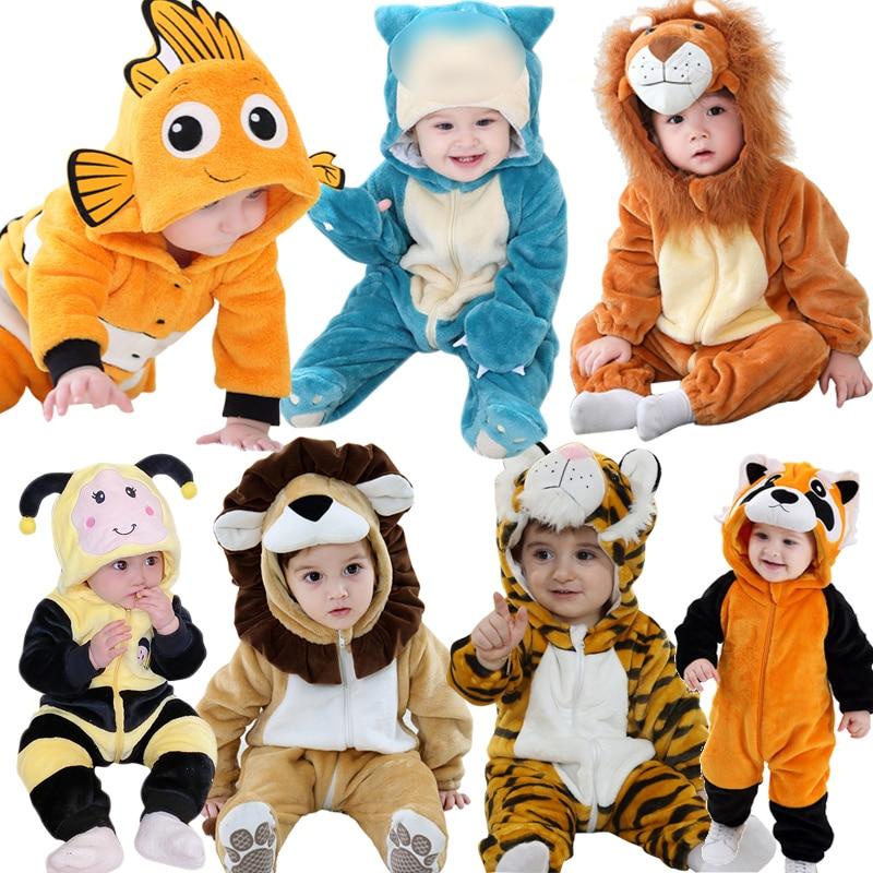 Baby Clothes 0-3y Romper Animal Cartoon Nemo Lion Toddler Boy Girl Newborn Baby Onesie Zipper Warm Festival Twins Rompers