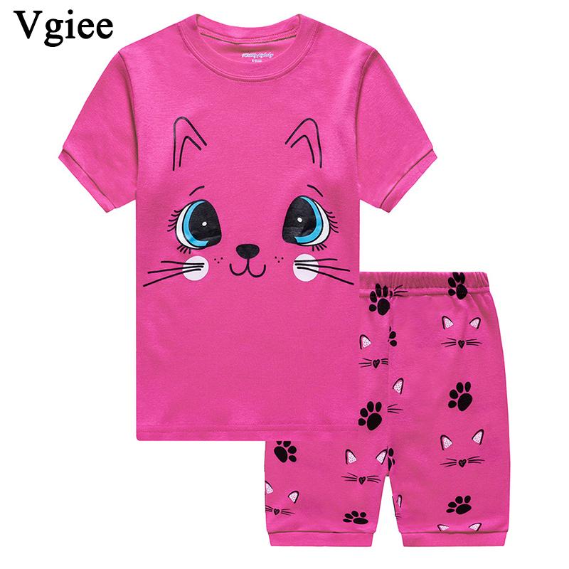 Vgiee Kids Clothes Girls Boutique Kids Clothing 2019 Fashion Summer Cartoon Cat Short O-Neck Girl Set Children CC172