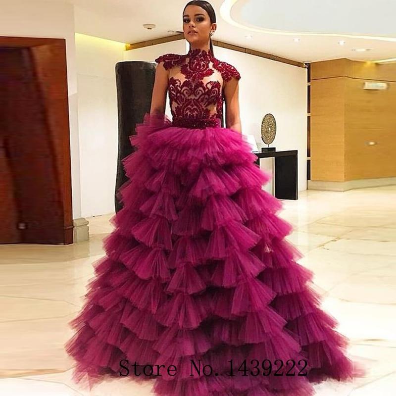 New Burgundy Ruffles Evening Dresses Tiered Prom Beads Appliques Beads Vestidos De Fiesta De Noche Robe De Soiree Custom Made