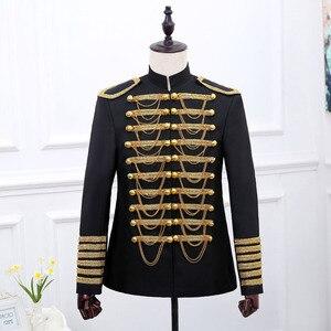 Image 2 - Disfraz de Príncipe Steampunk con cadenas militares para hombre, chaqueta de Halloween, chaqueta, chaqueta de cantante Pop Stars, Blazer, traje real, negro