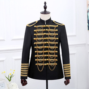 Image 2 - Steampunk Prince Costume Military Tassle Chains Halloween Jacket Coat Singer Pop Stars Blazer Suits Royal Outfit For Men Black