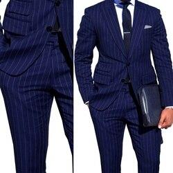 Navy Blauen Streifen Männer Anzüge Nach Maß Männer Anzug Mit Ticket Tasche Ganz Einreiher Spitze Revers Männer blazer
