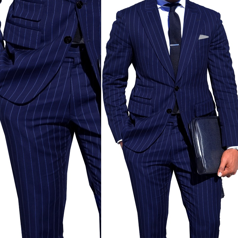 Navy Blue Stripe Men Suits Custom Made Men Business Suit With Ticket Pocket Tailored Made Single Breasted Peak Lapel Men Blazers