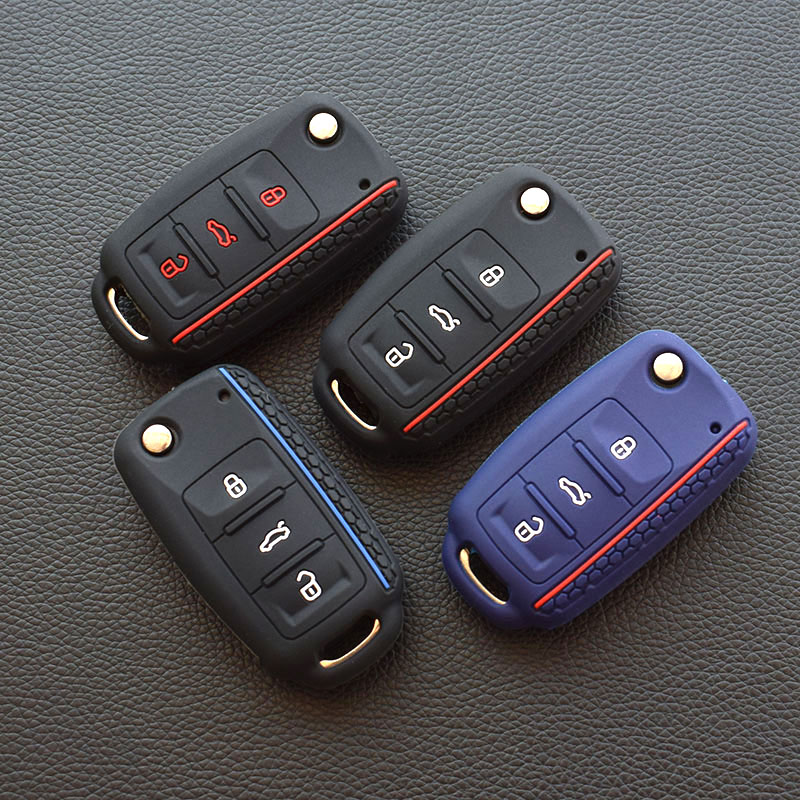 For Volkswagen Bora POLO GOLF Passat Car Key 2019 New Silicone Cover Case Shell 3 Button Remote Key  Protector Car Key Styling
