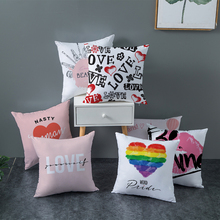 Nordic Pink Flowers Home Decorative Cushion Cover For Sofa Valentines Day Letter Love Pattern Pillowcase Polyester Pillow Case