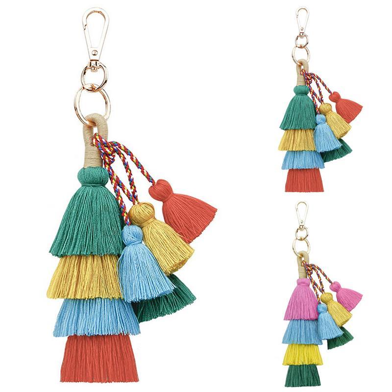 Ретро кисточкой сумка Шарм креативный Бохо ручной работы кисточкой брелок кольцо для ключей с сумочкой кулон сумка аксессуары