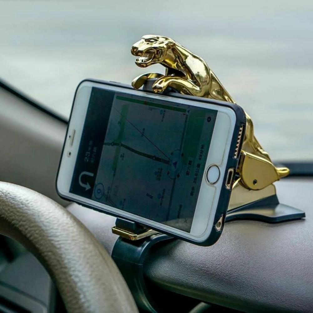 Car Dashboard Mobile Phone Bracket Navigation Golden Leopard Decoration