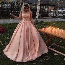 Blush Pink Evening Dresses Sexy Strapless robe de soiree Satin Floor Length Prom Abendkleider  Wear Formal Dress