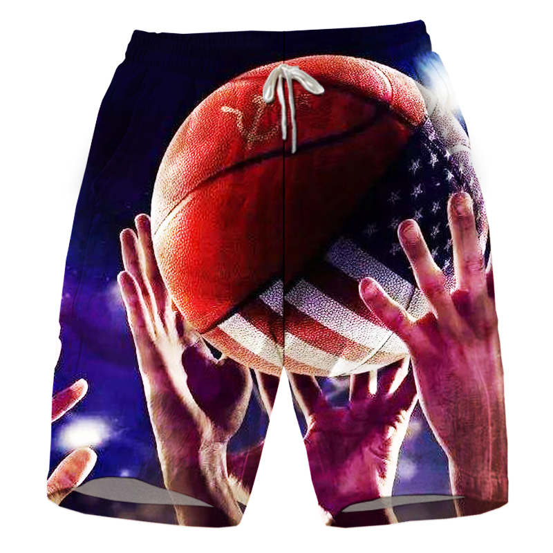 New Style Fluoresc Drawstr 3D Printed Pattern Casual Man Shorts