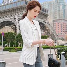 Striped Blazer coat women's leisure 2021 spring and summer new fashion large size slim 7 / 4 sleeve sunscreen clothes