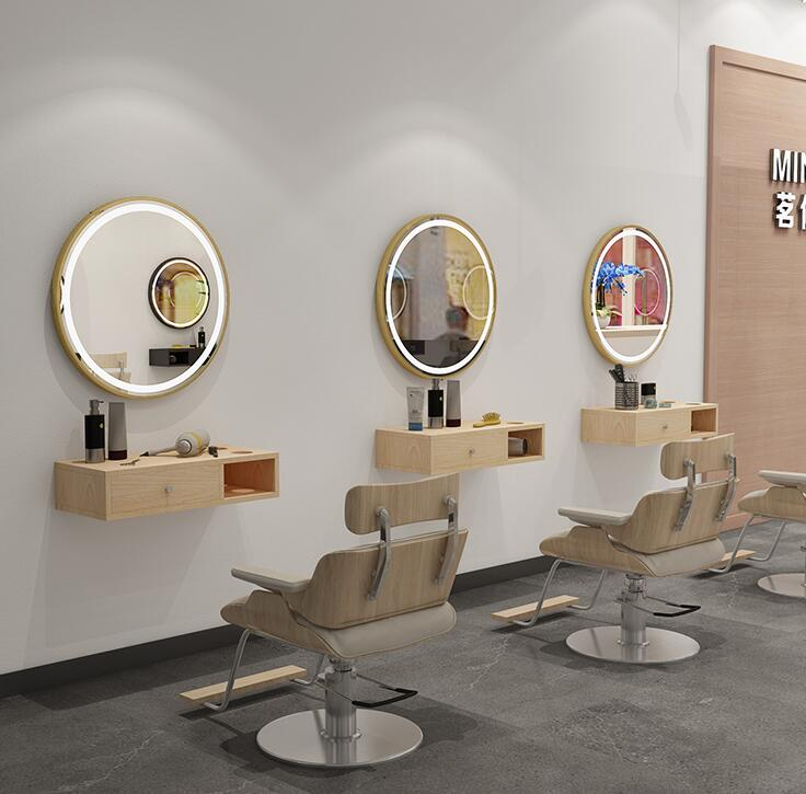 Aluminum Frame Barber's Mirror Beauty Salon's Mirror Table Integrated Round Single Mirror Hair Salon Mirror Wall Mirror
