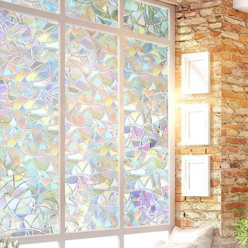 45cmX100cm 3D Senza Colla Statica Privacy Decorativa Arcobaleno Film per Stained Glass Self-Adesivo Pellicola Anti UV di Vetro sticker