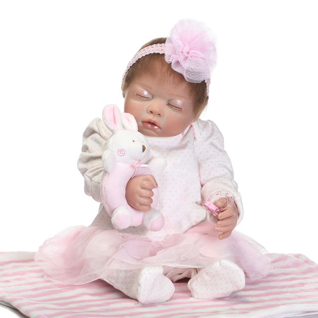 Pink Sleeping Bebe Doll Reborn Baby Soft Silicone Hand Rooted Hair 2
