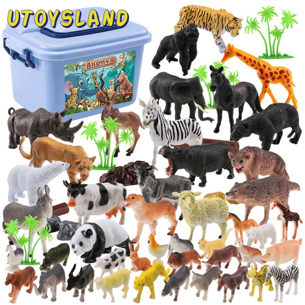 44 pièces animaux sauvages jouet Simulation animaux modèle enfants début apprentissage cognitif jouet Playset-couleur aléatoire
