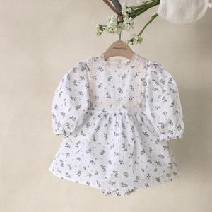 0-24m crianças recém-nascidos do bebê da menina floral roupas de algodão manga longa bodysuit elegante bonito vestido de princesa recém-nascido outfits