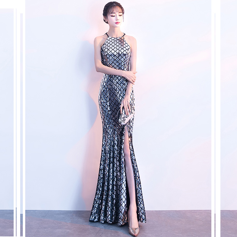 Evening     Dress   Sexy Halter Split Women Party   Dresses   Sleeveless Hollow Robe De Soiree Sequined Elegant   Evening   Gowns 2019 F202
