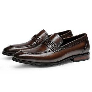 Image 3 - أحذية رجالي رسمية من phenkangأحذية أكسفورد من الجلد الطبيعي للرجال باللون الأسود 2020 أحذية للارتداء أحذية للزفاف أحذية جلدية من slipon