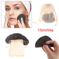 12Pcs Cotton Pad Makeup Removal Cleansing Bamboo Fiber Reusable Washable Rounds Pads Face Wipes Skin Care Tool 2