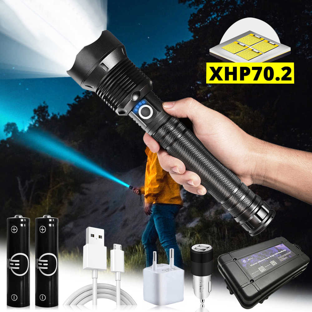 Tactical LED Zoom XHP50 Flashlight USB Rechargeable Hand Torch Camping Light UK
