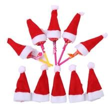 30 шт. 20 шт. Лидер продаж Мини Санта Клаус шляпа Рождество Праздник леденец Топ Топпер Обложка фестиваль Рождественская вечеринка украшения