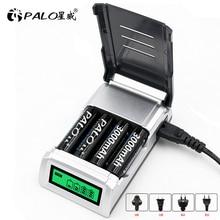 Chargeur Intelligent daffichage à cristaux liquides de PALO 4 fentes pour la batterie Rechargeable daa/AAA NiMH NI CD